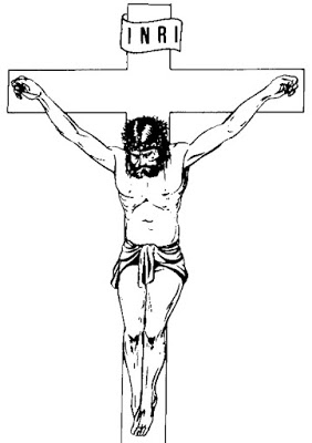 Imagen de Jesús Crucificado para colorear o pintar