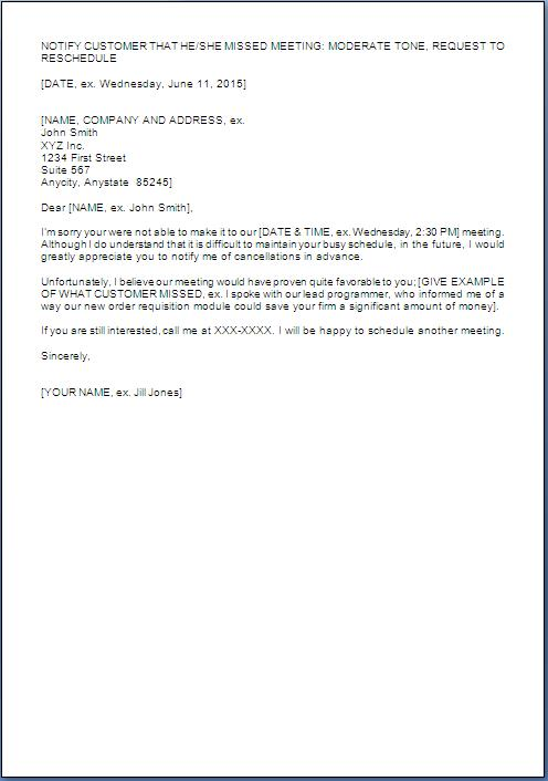 Sample Letter For Rescheduling Meeting