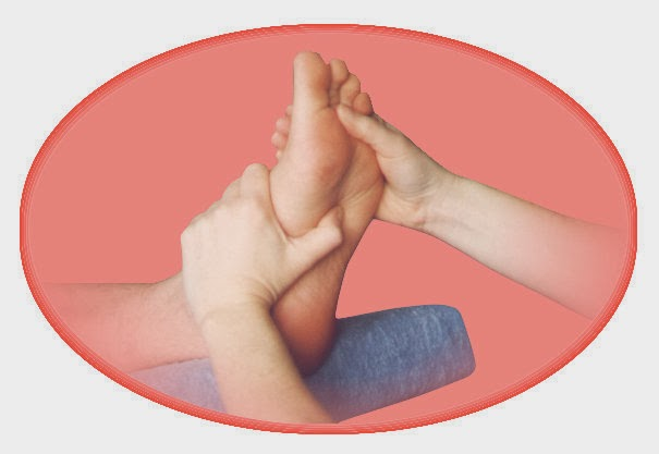 Reflexology foot treatment, specific areas on the foot are stimulated to correspond & help heal specific areas of the body