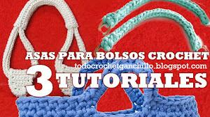 Aprender a hacer Asas para Bolsos al Crochet / 3 Tutoriales