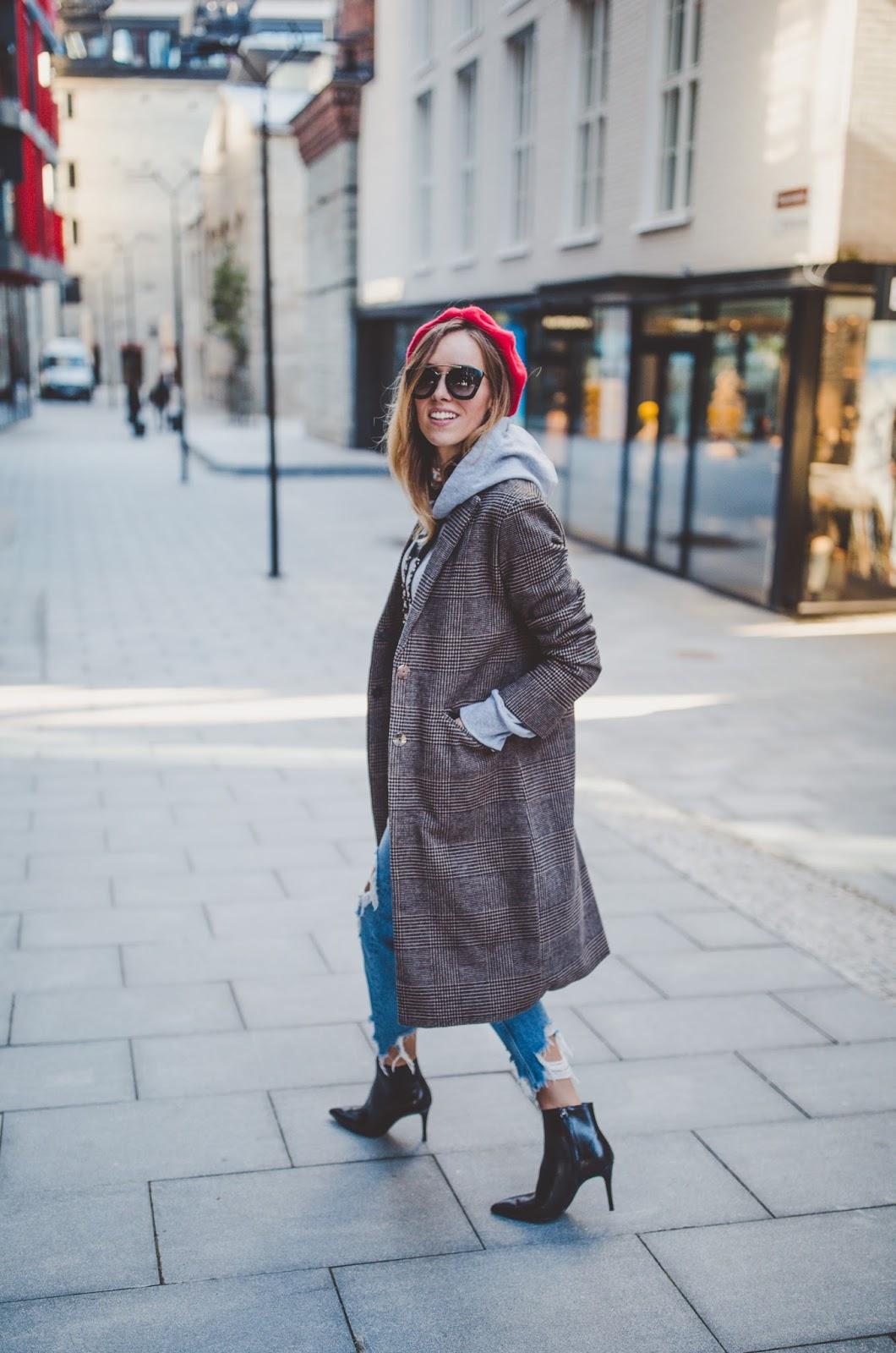 plaid print coat hoodie street style