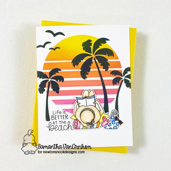 Reading on the Beach Card by Samantha VanArnhem | Summer Moments Stamp Set and Sun & Palms Stencil Set by Newton's Nook Designs #newtonsnook