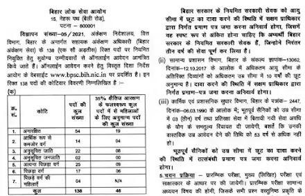 BPSC Recruitment 2021 | Apply For 138 Vacancy Of Assistant Audit Officer