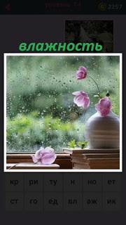 за окном идет дождь и большая влажность на стекле остается