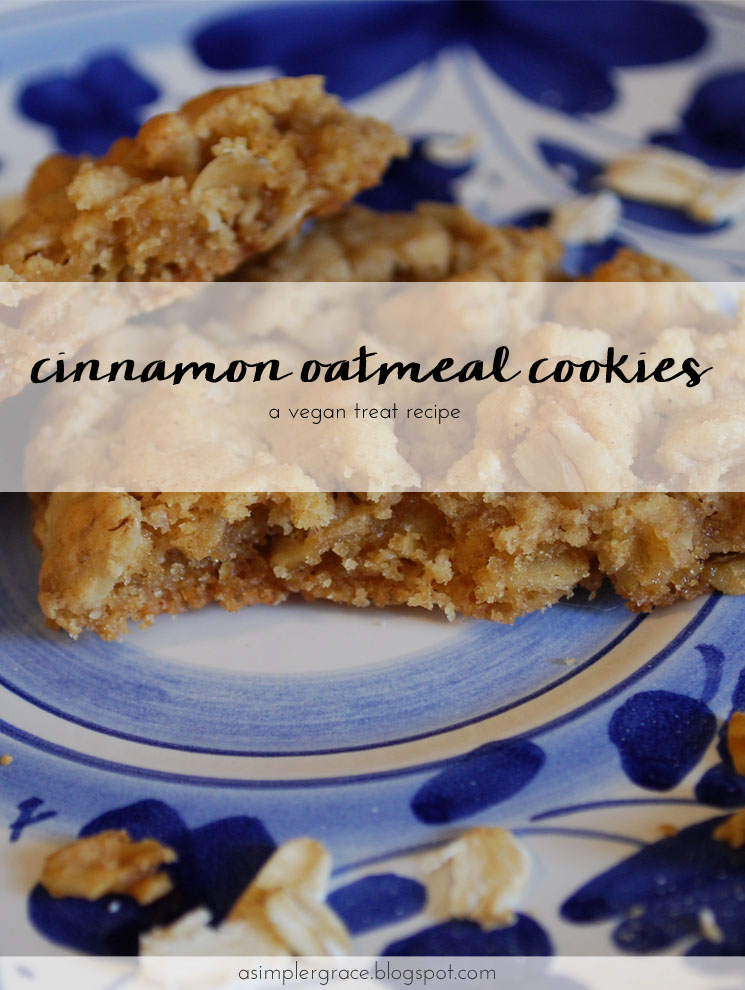 Vegan Cinnamon Oatmeal Cookies - A Simpler Grace #vegan #cookies #recipe