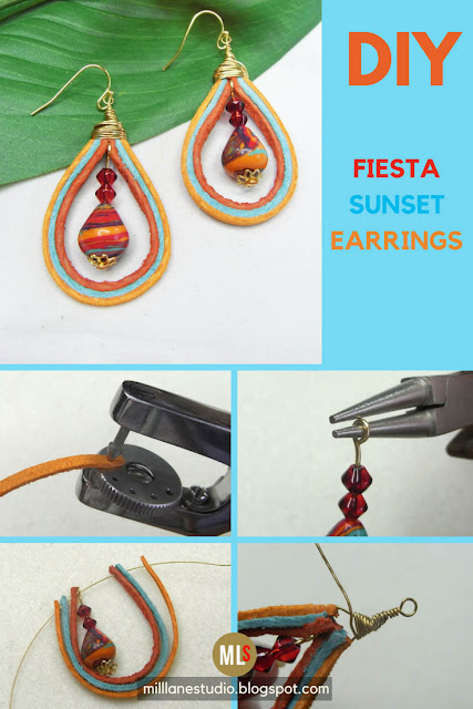 Tutorial showing how to punch the suede lace, string it with the beads and wrap it with wire to make the Fiesta Sunset earrings.