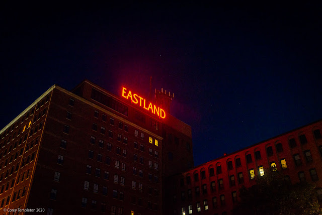Portland, Maine USA October 2020 photo by Corey Templeton . The steady glow of the Eastland sign over Congress Square. The hotel (now the The Westin Portland Harborview Hotel).