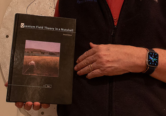 Close up image of QFT textbook held in right hand (Source: Palmia Observatory)