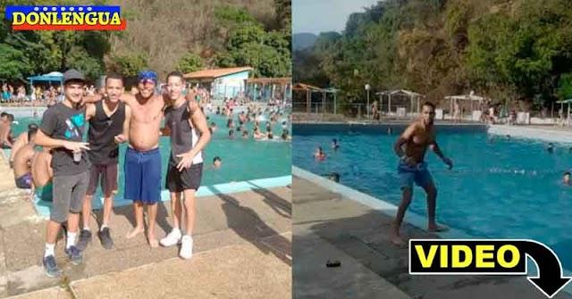 Banda de El Coqui celebró la pascua en la piscina de la Policía de El Paraíso