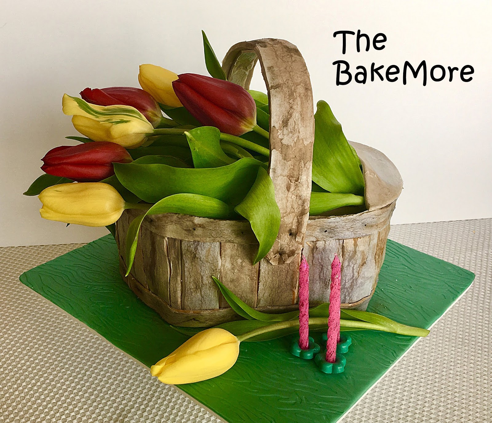 The Bake More Rusticweathered Basket Of Tulips Cake