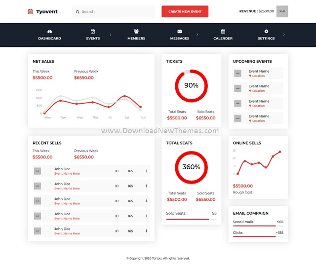 Event Management Dashboard ReactJS Template