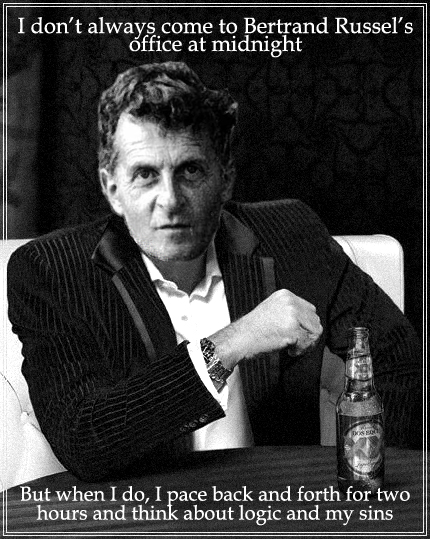 Photo montage of Ludwig Wittgenstein and one of his sentences