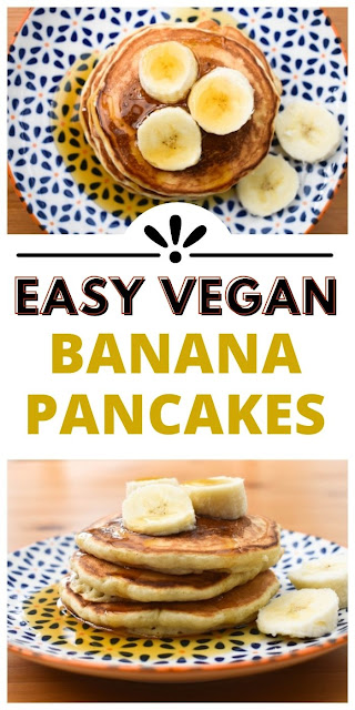 Easy soft and fluffy vegan banana pancakes.