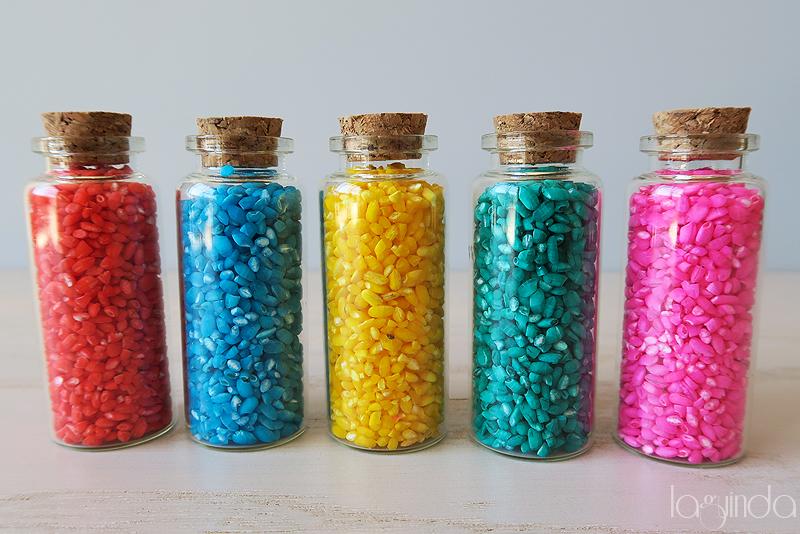 botella vidrio arroz colores boda