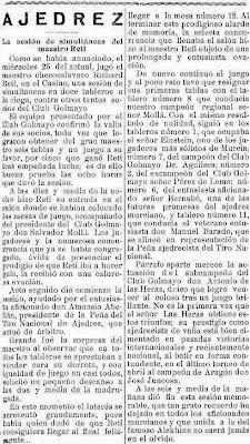 Sobre las simultáneas de Ricardo Reti, El Liberal, 29 de mayo de 1927 (1)