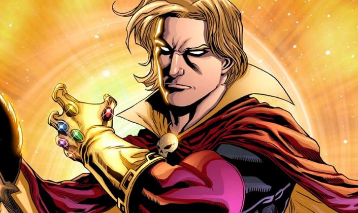 Imagem de capa: uma ilustração do personagem Adam Warlock, um home branco loiro com cabelos longos, um traje arroxeado com preto e uma longa capa com a manopla do Infinito, uma luva de ouro em que se vê as jóias do infinito na mão direita.