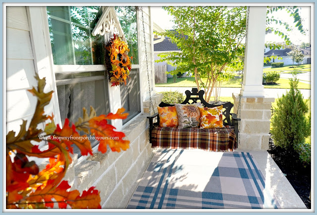 Farmhouse Cottage Style Fall Front Porch-Black Porch Swing-From My Front Porch To Yours