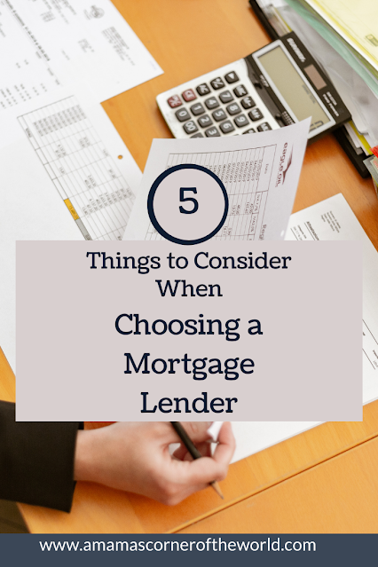 Pinnable list of things to consider when choosing a mortgage lender
