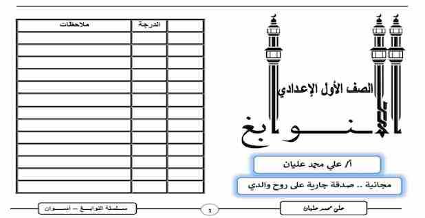 مذكرة اللغة العربية الصف الأول الإعدادي الفصل الدراسي الأول 2021