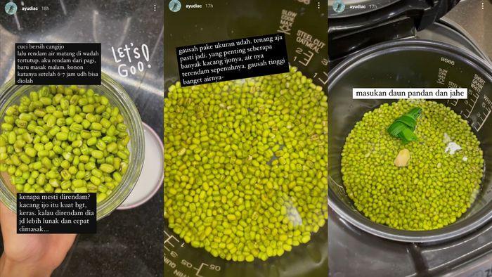 Cara membuat bubur kacang hijau menggunakan rice cooker ala Ayudia Bing Slamet. Kolase Instagram   @ayudiac