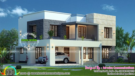 Flat roof 3 bedroom house