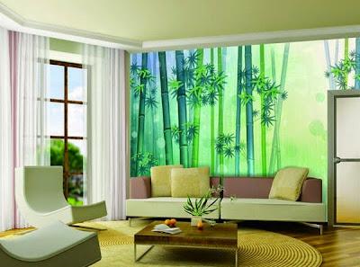 Lukis dinding bambu