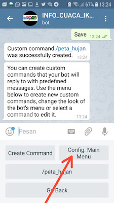 Menu dan submenu bot telegram informasi cuaca dan iklim