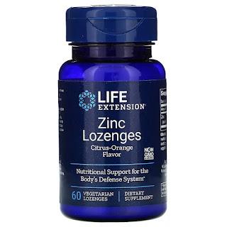Life Extension, Zinc Lozenges, Citrus-Orange Flavor, 60 Vegetarian Lozenges