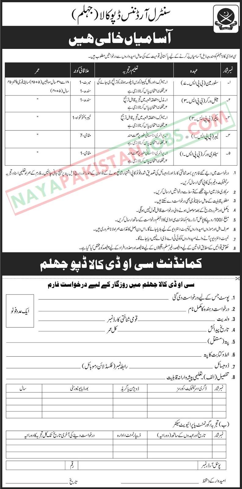 Latest Vacancies Announced in Pakistan Army at Central Depot Kala Jhelum 2 November 2018 - Naya Pakistan
