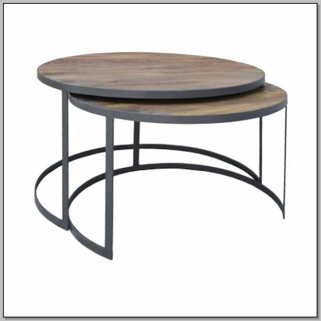 Round Wood Nesting Coffee Table