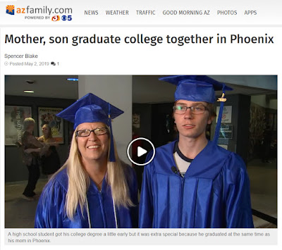 Snapshot of azgamily.com story on web site, featuring photo of Gigi and Dylan dressed in cap and gown.  Text: Mother, son graduate college together in Phoenix