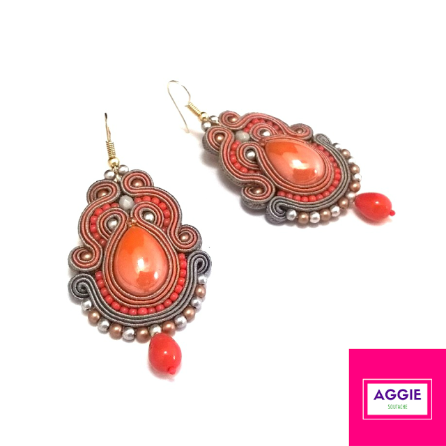 Orange grey medium soutache earrings autumn