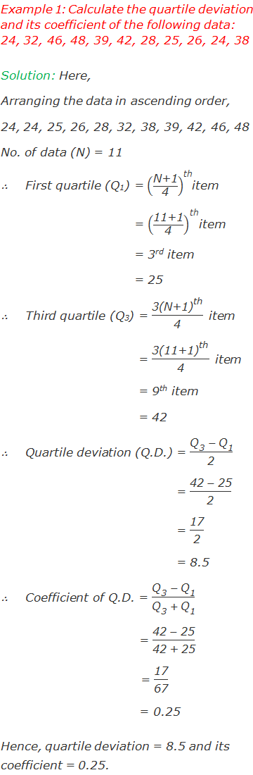 "Example 1: Calculate the quartile deviation and its coefficient of the following data: 24, 32, 46, 48, 39, 42, 28, 25, 26, 24, 38 Solution: Here, Arranging the data in ascending order,  24, 24, 25, 26, 28, 32, 38, 39, 42, 46, 48 No. of data (N) = 11 ∴	First quartile (Q1) = (""N+1"" /""4"" )^""th"" item 			    = (""11+1"" /""4"" )^""th"" item 			    = 3rd item 			    = 25 ∴	Third quartile (Q3) = (""3"" 〖""(N+1)"" 〗^""th"" )/""4""  item 			    = (""3"" 〖""(11+1)"" 〗^""th"" )/""4""  item 			    = 9th item 			    = 42 ∴	Quartile deviation (Q.D.) = (""Q"" _""3""   - ""Q"" _""1"" )/""2""  				   = (""42 "" - ""25"" )/""2""  				   = ""17"" /""2""  				   = 8.5 ∴	Coefficient of Q.D. = (""Q"" _""3""   - ""Q"" _""1"" )/(""Q"" _""3""   + ""Q"" _""1""  ) 		                = (""42 "" - ""25"" )/""42 + 25""  			       = ""17"" /""67""  			       = 0.25 Hence, quartile deviation = 8.5 and its coefficient = 0.25."