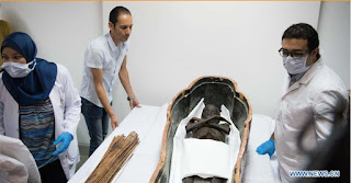 Unpacking ancient Egyptian sarcophagus