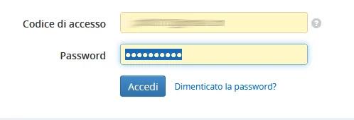 Selezione campo password