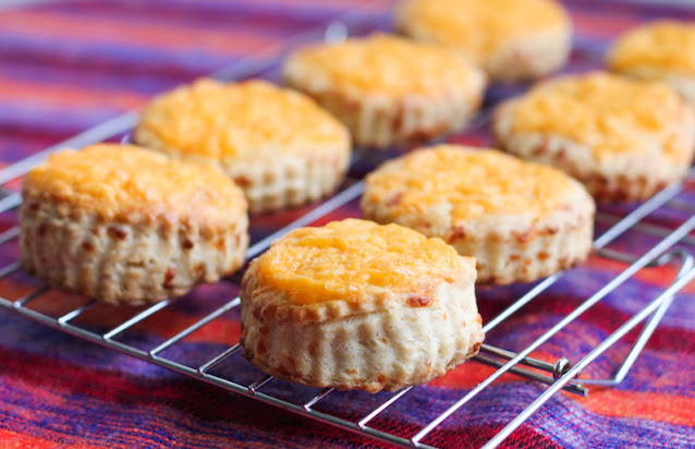 Food Lust People Love: These overnight yeasted cheese scones have cheese inside and on top. They make a delightful breakfast or snack or use them as sandwich bread.