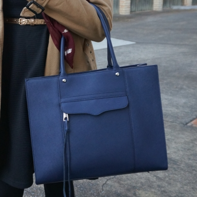 camel trench, Rebecca Minkoff medium MAB tote in moon navy | Away From The Blue