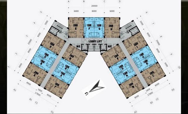 Floor plan Apartemen Crown Sky Alam Sutera