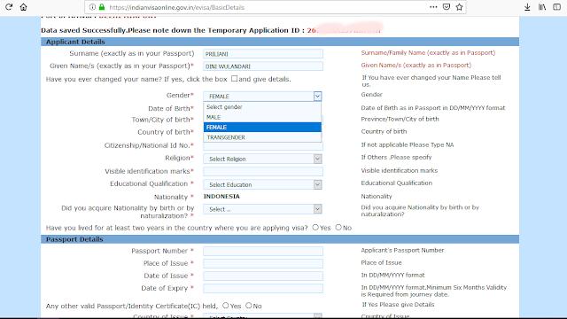Form Halaman Kedua E-Visa India