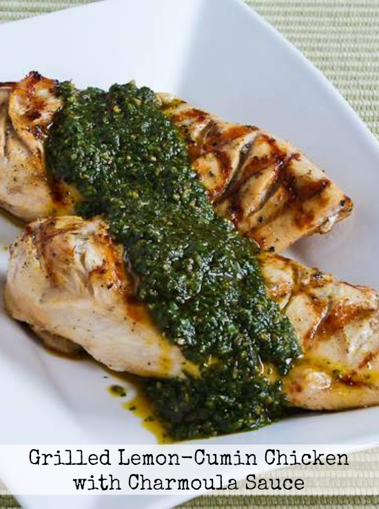 ... Lemon-Cumin Chicken with Charmoula Sauce found on KalynsKitchen.com