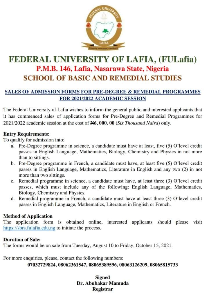 FULafia Pre-Degree & Remedial Admission Form 2021/2022