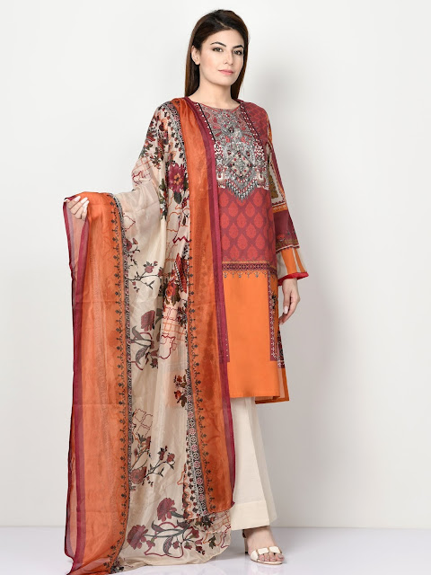 Limelight Red Color Printed cambric suit winter pret collection