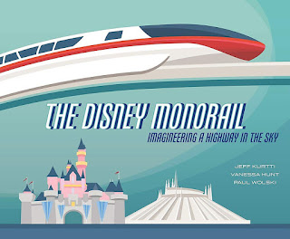 Book image of Disney Monrails showing a white and red monorail moving above the Disneyland castle and Space Mountain