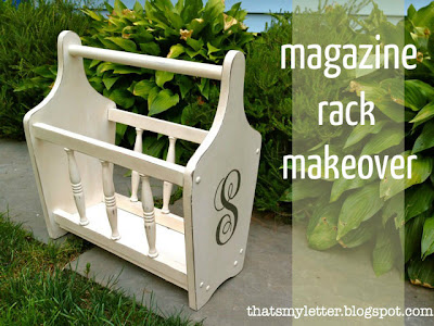 refinished magazine rack with heirloom white