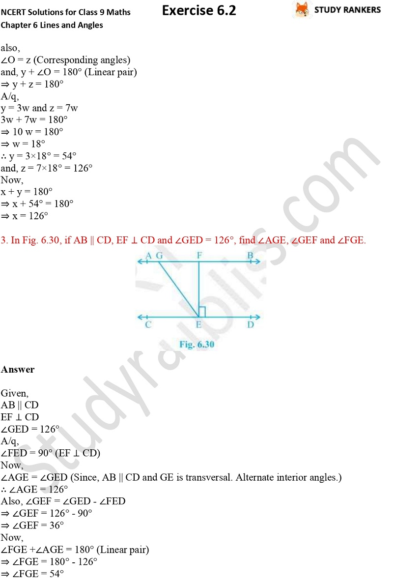 NCERT Solutions for Class 9 Maths Chapter 6 Lines and Angles Exercise 6.2 Part 2