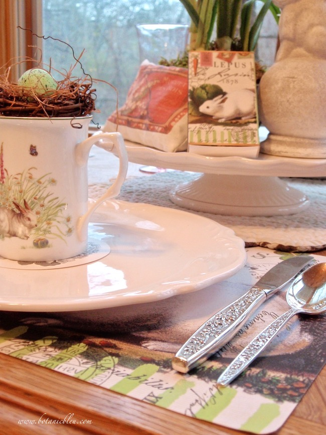 french lapin bunny spring table silver towle meadow song