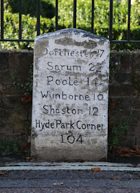 Milestone in Blandford, Dorset © A Knowles (2016)