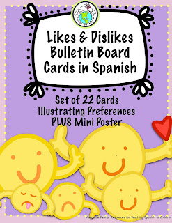 Likes Dislikes Preferences Bulletin Board Cards in Spanish