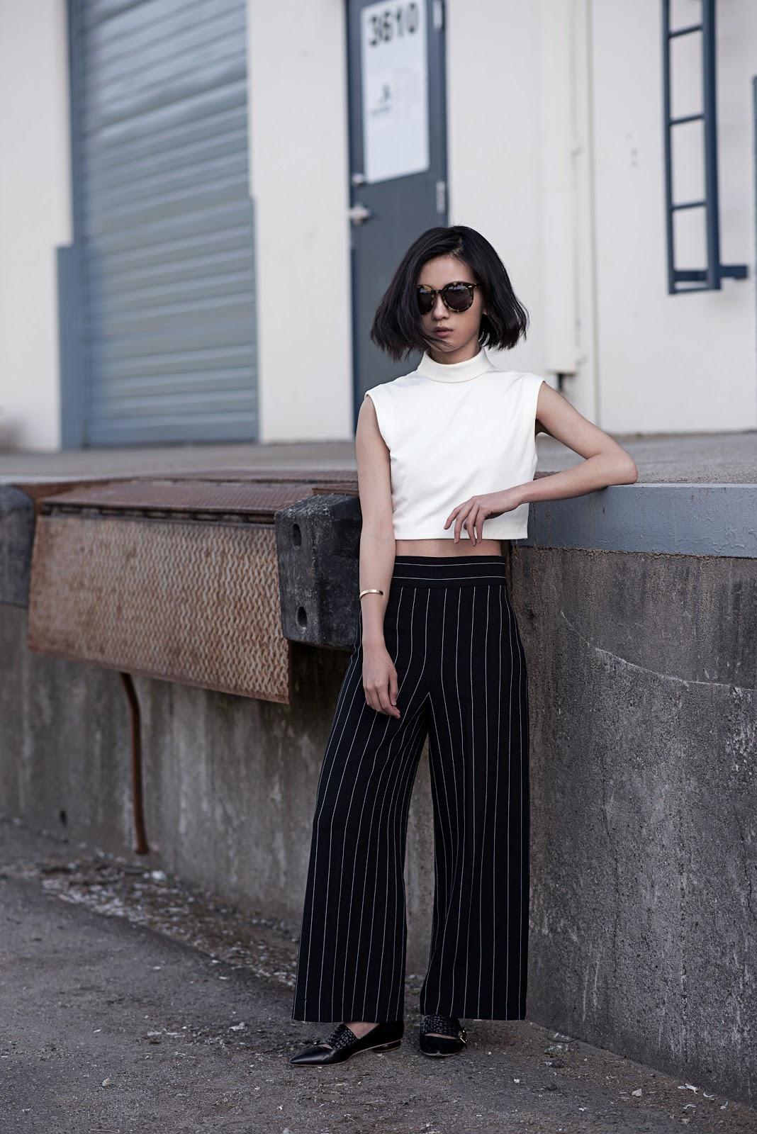 von vogue tibi crop top zara pants karen walker sunglasses