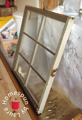 DIY repurposed window table - window before
